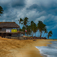 Buy canvas prints of Beach front shop             by Angela Wallace