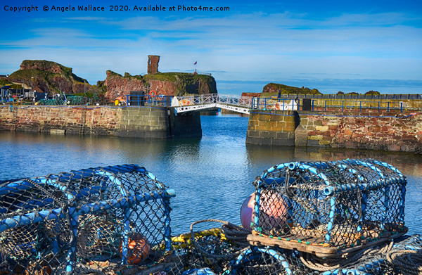 Lobster pots at Dunbar Castle Canvas Print by Angela Wallace