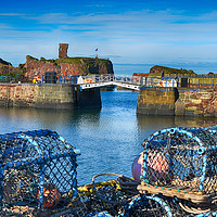 Buy canvas prints of Lobster pots at Dunbar Castle by Angela Wallace