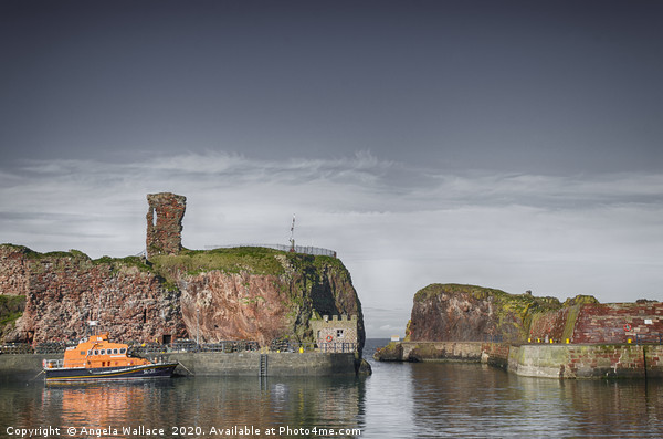lifeboat under Dunbar Castle Canvas Print by Angela Wallace