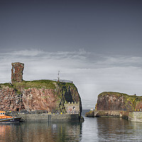Buy canvas prints of lifeboat under Dunbar Castle by Angela Wallace