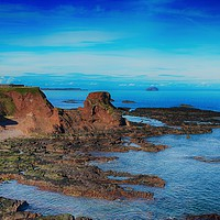 Buy canvas prints of House on Dunbar cliff tops by Angela Wallace