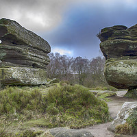 Buy canvas prints of The Idol Stone at Brimham Rocks by Angela Wallace