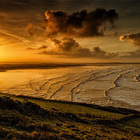 Buy canvas prints of Surfer Sunrise by Dave Wilkinson  North Devon Photography