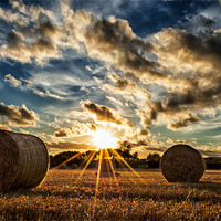 Buy canvas prints of Straw Bales Sunset by Dave Wilkinson  North Devon Photography