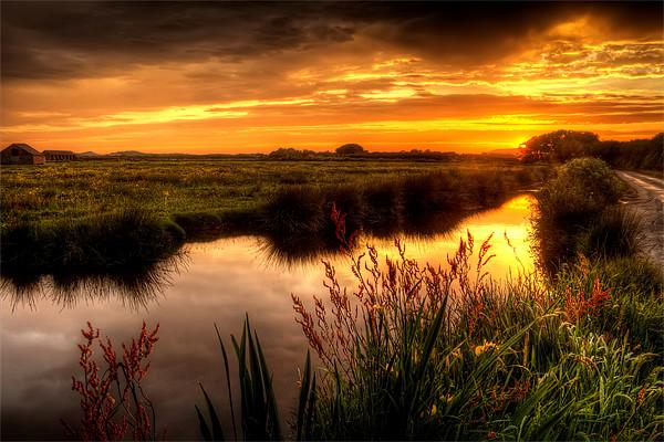 Braunton Marsh sunset Canvas print by Dave Wilkinson  North Devon Photography