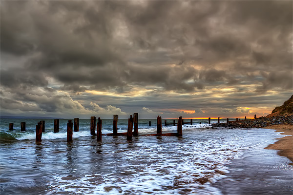 Old Groynes at Crow Point Canvas print by Dave Wilkinson  North Devon Photography