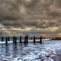 Buy canvas prints of Old Groynes at Crow Point by Dave Wilkinson  North Devon Photography
