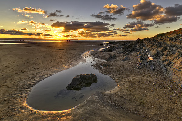 Sunset Saunton Sands North Devon Canvas print by Dave Wilkinson  North Devon Photography