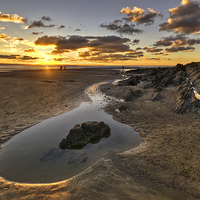 Buy canvas prints of Sunset Saunton Sands North Devon by Dave Wilkinson  North Devon Photography
