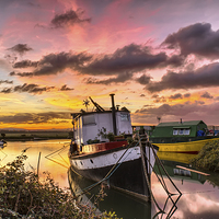 Buy canvas prints of Houseboats on Velator Quay by Dave Wilkinson  North Devon Photography