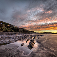 Buy canvas prints of Winter sunrise, Saunton Sands by Dave Wilkinson  North Devon Photography