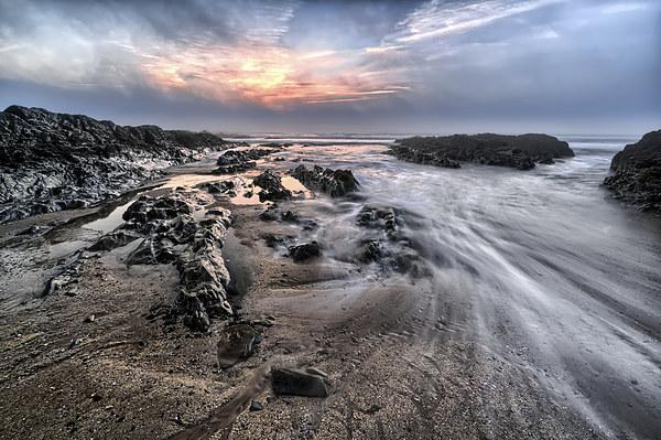 Croyde Bay sea mist sunset Canvas print by Dave Wilkinson  North Devon Photography