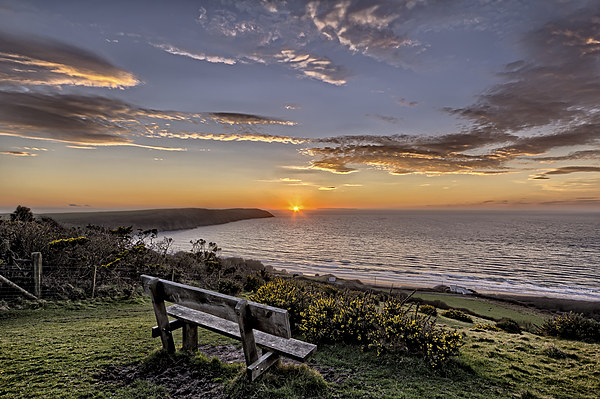 Woolacombe Bay sunset Canvas print by Dave Wilkinson  North Devon Photography