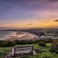 Buy canvas prints of Woolacombe Bay sunrise by Dave Wilkinson  North Devon Photography