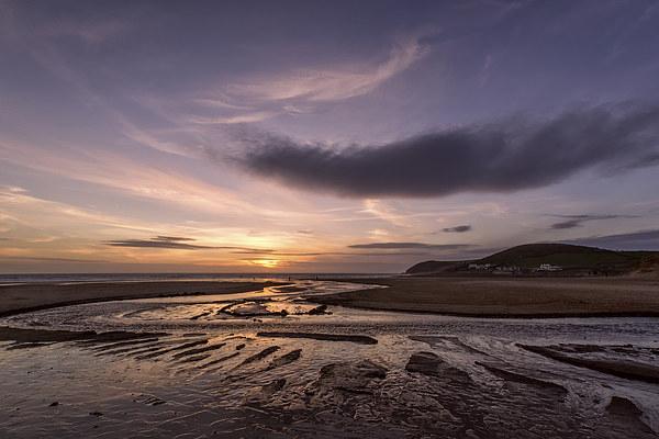 Croyde stream sunset Canvas Print by Dave Wilkinson North Devon Ph