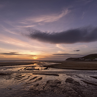 Buy canvas prints of  Croyde stream sunset by Dave Wilkinson North Devon Ph