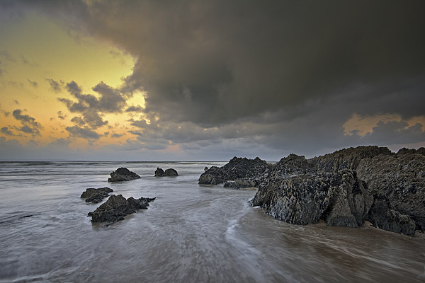 The rocks at Croyde Bay Canvas Print by Dave Wilkinson North Devon Ph