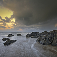 Buy canvas prints of  The rocks at Croyde Bay by Dave Wilkinson North Devon Ph