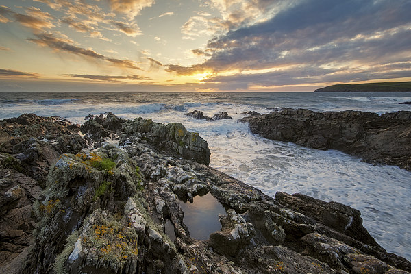 The setting sun at Croyde Bay Canvas Print by Dave Wilkinson North Devon Ph