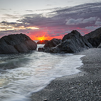 Buy canvas prints of Sandy Cove Sunrise. by Dave Wilkinson North Devon Ph