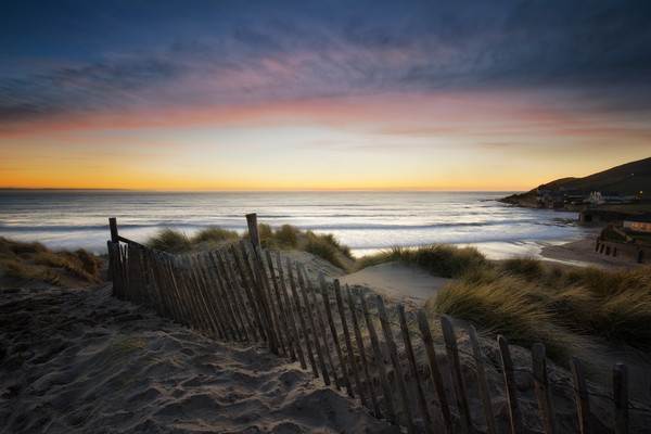 Croyde Bay Sunset Canvas print by Dave Wilkinson North Devon Ph