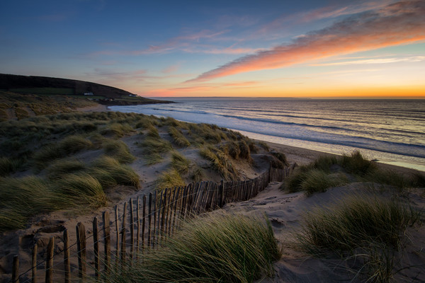 Croyde Bay sunset Canvas Print by Dave Wilkinson North Devon Ph
