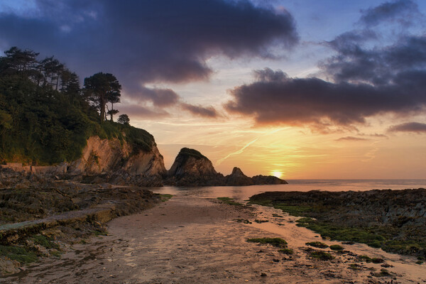 Sunset at Lee Bay, Nr Ilfracombe , North Devon. Canvas Print by Dave Wilkinson North Devon Ph