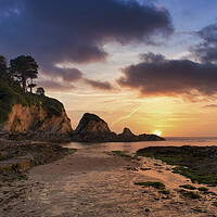 Buy canvas prints of Sunset at Lee Bay, Nr Ilfracombe , North Devon. by Dave Wilkinson North Devon Ph
