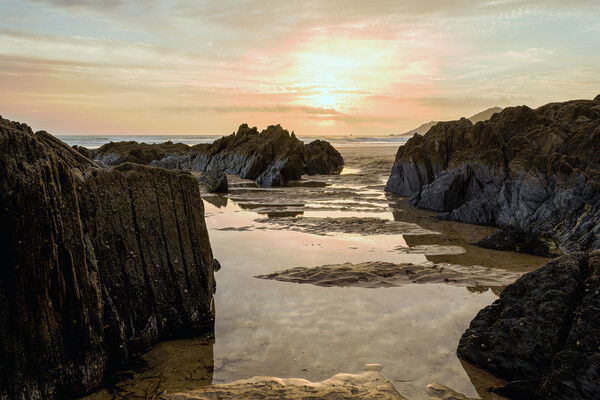 Combesgate Beach, Woolacombe Bay. Canvas Print by Dave Wilkinson North Devon Ph