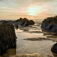 Buy canvas prints of Combesgate Beach, Woolacombe Bay. by Dave Wilkinson North Devon Ph
