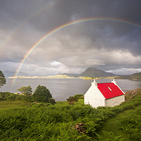 Buy canvas prints of Applecross Red Roofed Cottage with Rainbows by Derek Beattie