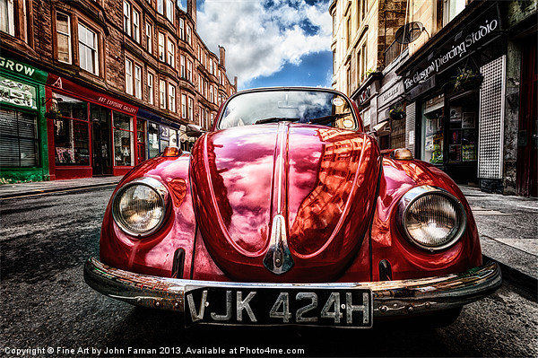 Vintage Beetle on the street Canvas print by Fine Art by John Farnan