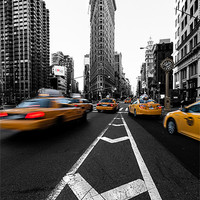 Buy canvas prints of Canvas print Flatiron Building yellow cabs by Fine Art by John Farnan