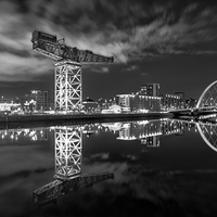 Buy canvas prints of  Finnieston Crane and Clyde Arc by night by Fine Art by John Farnan