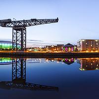Buy canvas prints of Glasgow Riverside Panorama by Fine Art by John Farnan