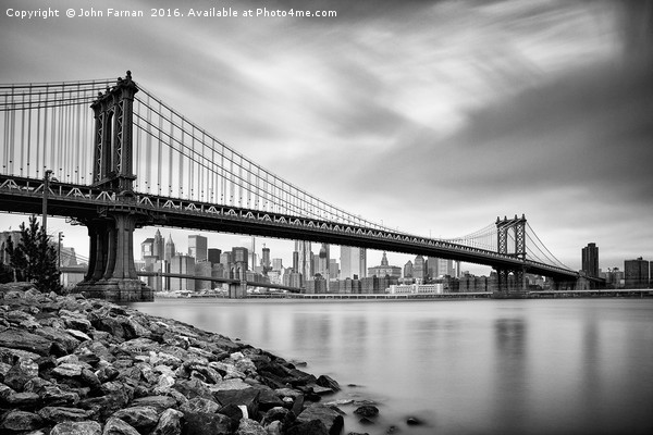 Manhattan Bridge Framed Mounted Print by John Farnan