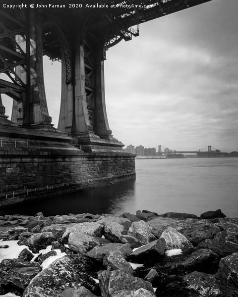 Under the Manhattan bridge Framed Mounted Print by John Farnan