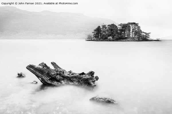 Tarbet Isle Loch Lomond monochrome Framed Print by John Farnan