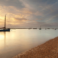 Buy canvas prints of Boat with golden sunset by Mark Harrop