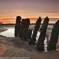 Buy canvas prints of Ardrossan Wreck Beach Sunset by Paul Messenger