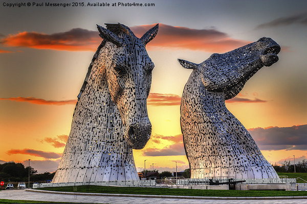 Kelpies at Sunset Canvas print by Paul Messenger