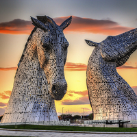 Buy canvas prints of    Kelpies at Sunset by Paul Messenger