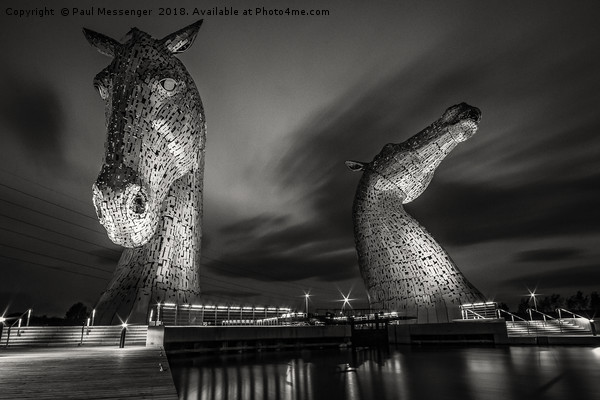 Kelpies at Night in B&W Canvas print by Paul Messenger