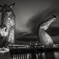 Buy canvas prints of  Kelpies at Night in B&W by Paul Messenger