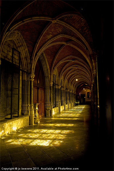 cathedrale cloister belgium Canvas print by Jo Beerens