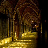 Buy canvas prints of cathedrale cloister belgium by Jo Beerens