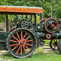 Buy canvas prints of steam tractor by Jo Beerens