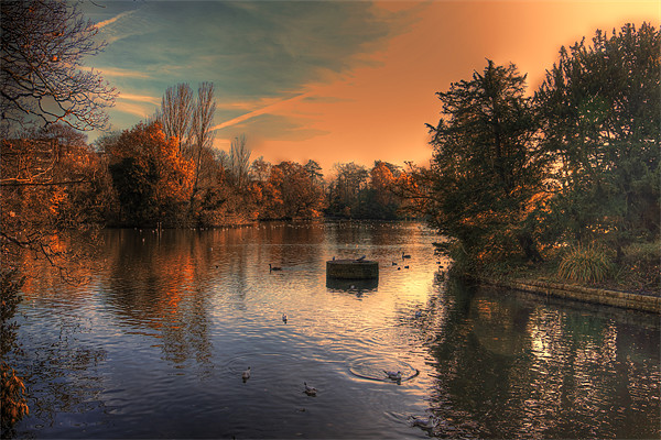 Autumn evening over the lake Canvas print by DSLR Creations