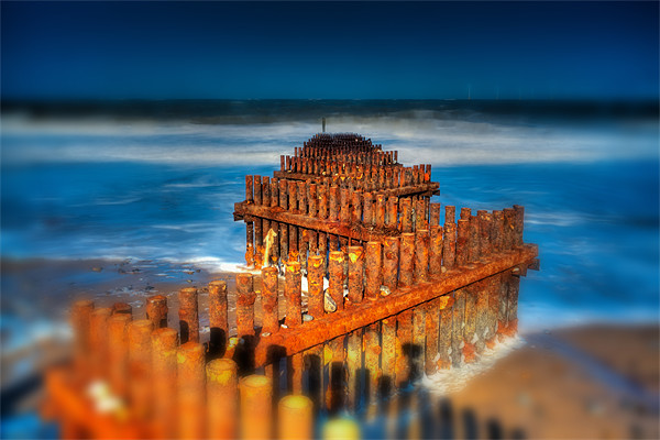 caister groynes tiltshift Canvas Print by DSLR Creations